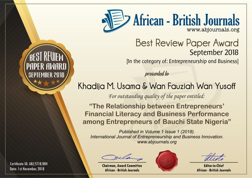 The Relationship between Entrepreneurs' Financial Literacy and business Performance among Entrepreneurs of Bauchi State Nigeria