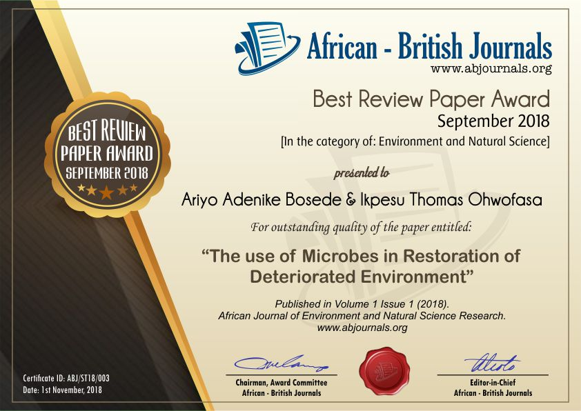 The Use Of Microbes In Restoration Of Deteriorated Environment
